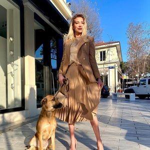 Zara Pleated Midi Skirt Bloggers favorite